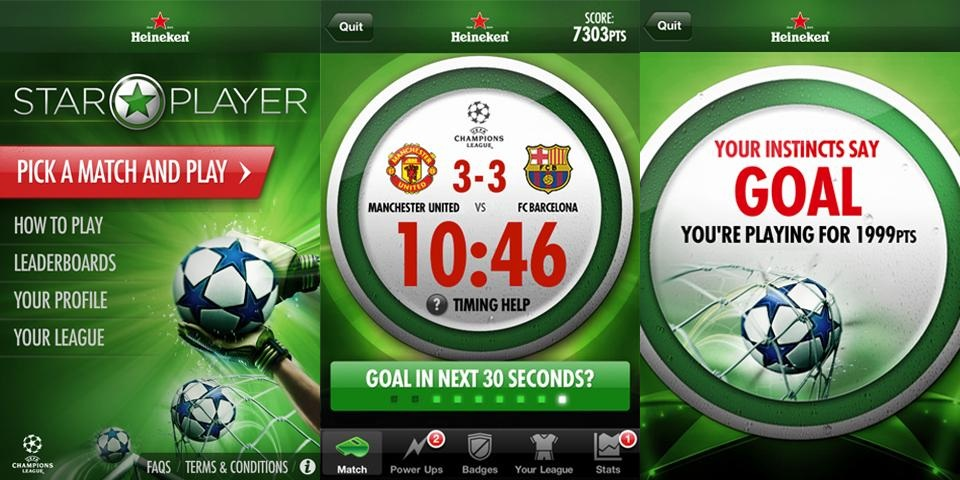 Heineken Star Player Uygulama Ekranlar Heineken Star Player ile UEFA Şampiyonlar Ligi Maçlarını Yaşayın
