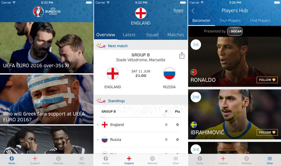 Euro 2016 En İyi Mobil Uygulamaları